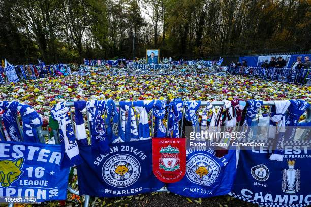 LEICESTER ENGLAND NOVEMBER Leicester City' s forever in our hearts Vichai Srivaddhanaprabha during the Premier League match between Leicester City...