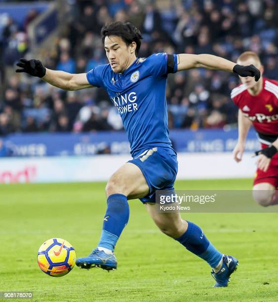 Leicester City striker Shinji Okazaki goes on the attack in the second half of his side's 20 win over Watford in the English Premier League in...