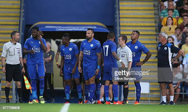 Leicester City' substitutes prepare to come on during the preseason friendly between Oxford City and Leicester City at Kassam Stadium on July 19 2016...