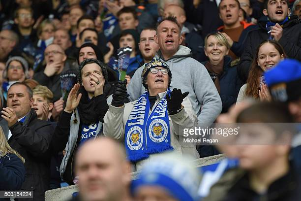 Leicester City supporters cheer prior to the Barclays Premier League match between Leicester City and Bournemouth at The King Power Stadium on...