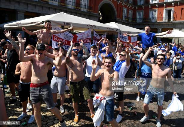 Leicester City supporters gather in the Plaza Mayor Square prior to the UEFA Champions League Quarter Final first leg match between Club Atletico de...