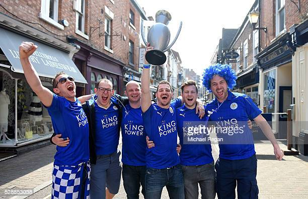 Leicester City supporters pose for photographs prior to the Barclays Premier League match between Leicester City and Everton at The King Power...