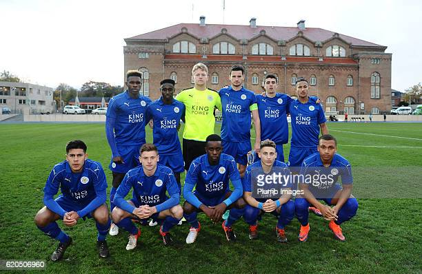 Leicester City team photo at Osterbro Stadium ahead of the UEFA Youth Champions League match between FC Copenhagen and Leicester City at Osterbro...