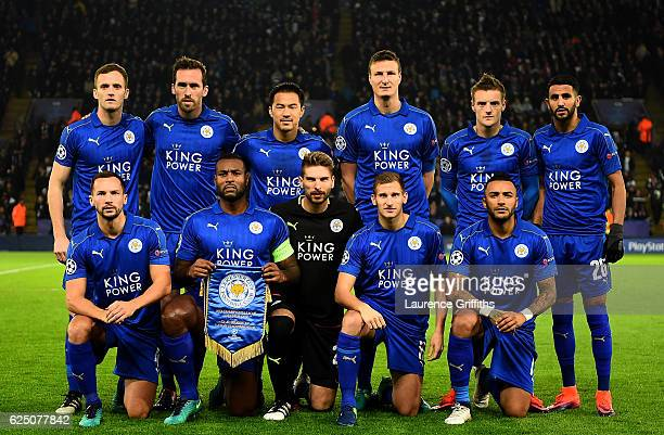 Leicester City team pose for a photograph prior to the UEFA Champions League Group G match between Leicester City FC and Club Brugge KV at The King...
