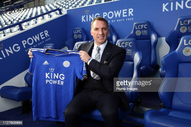 Leicester City unveil new manager Brendan Rodgers at King Power Stadium on February 26 2019 in Leicester United Kingdom