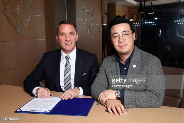 Leicester City unveil new manager Brendan Rodgers pictured with Vice Chairman Aiyawatt Srivaddhanaprabha at King Power Stadium on February 26 2019 in...