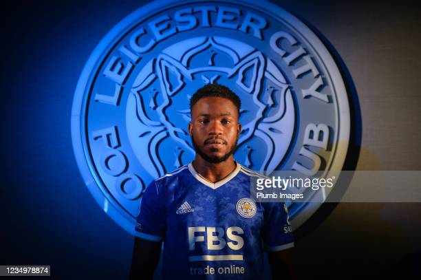 Leicester City unveil new signing Ademola Lookman at Leicester City Training Ground on August 31, 2021 in Seagrave, United Kingdom.