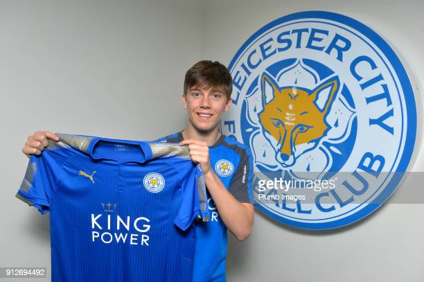 Leicester City unveil new signing Callum Wright at Belvoir Drive Training Complex on January 31 2018 in Leicester United Kingdom