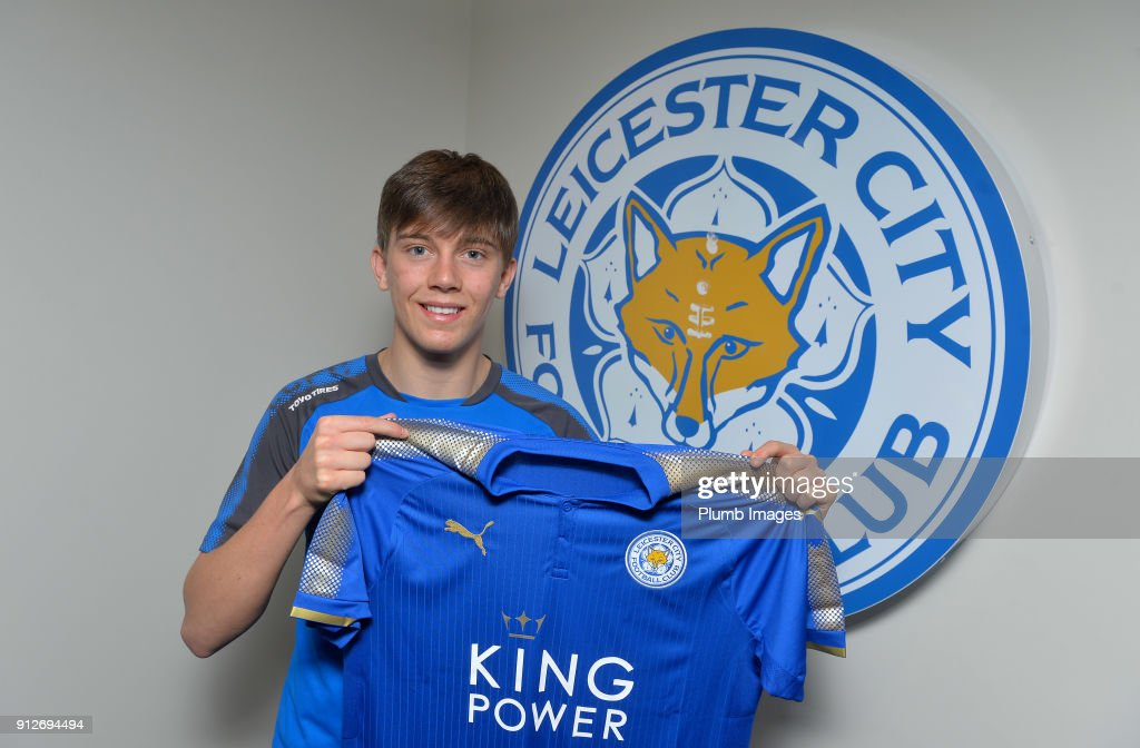 Leicester City unveil new signing Callum Wright at Belvoir Drive Training Complex on January 31, 2018 in Leicester, United Kingdom.