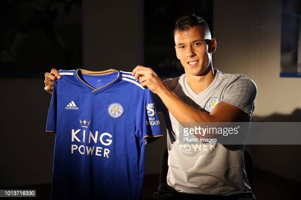 Leicester City Unveil New Signing Filip Benkovic at Belvoir Drive Training Complex on August 08, 2018 in Leicester, United Kingdom.