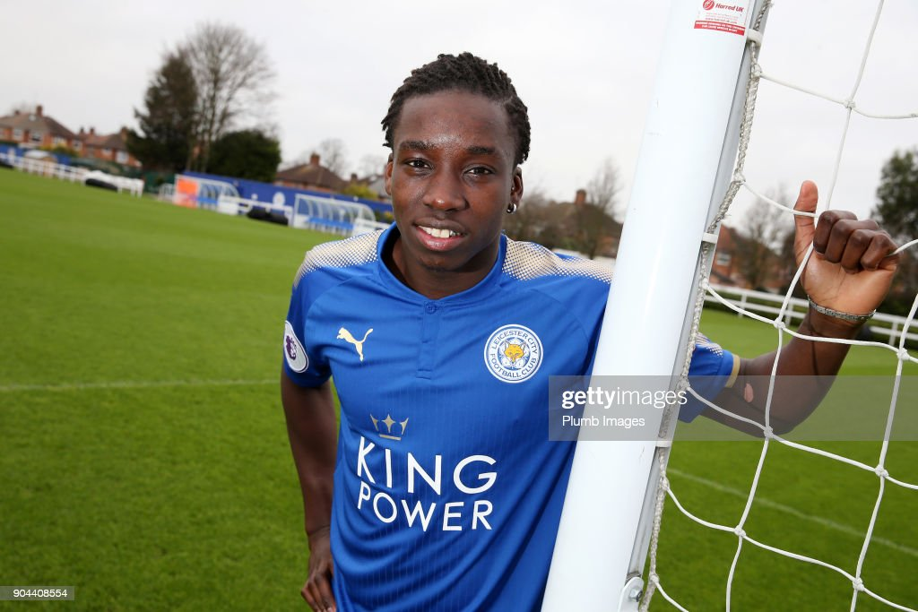 Leicester City unveil new signing Fousseni Diabate at Belvoir Drive Training Complex on January 13 , 2018 in Leicester, United Kingdom.