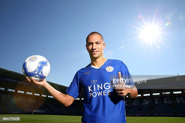 Leicester City unveil new signing Gokhan Inler at The King Power Stadium on August 19, 2015 in Leicester, England.
