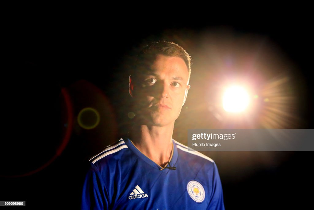 Leicester City Unveil New Signing Jonny Evans at Belvoir Drive Training Complex on June 07 , 2018 in Leicester, United Kingdom.