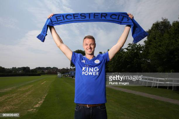 Leicester City Unveil New Signing Jonny Evans at Belvoir Drive Training Complex on June 07 2018 in Leicester United Kingdom