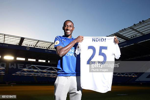 Leicester City unveil new signing Wilfred Ndidi at the King Power Stadium on January 05 2017 in Leicester United Kingdom