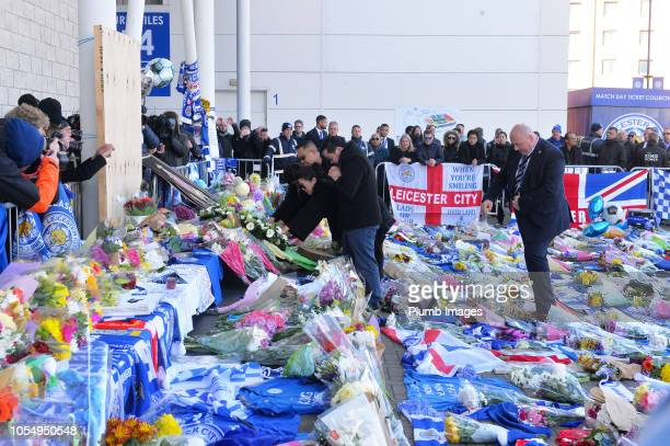 Leicester City vice chairman Aiyawatt Top Srivaddhanaprabha visits the tributes at King Power Stadium to his late father owner Vichai...