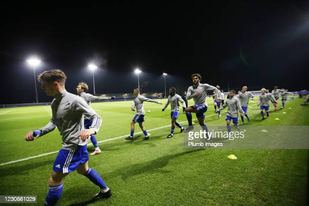 Leicester City warm up ahead of the Premier League 2 match between Leicester City and Manchester United at Leicester City Training Ground, on January...