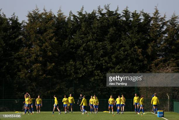 Leicester City warm up prior to the Barclays FA Women's Championship match between Leicester City Women and Crystal Palace Women at Farley Way...