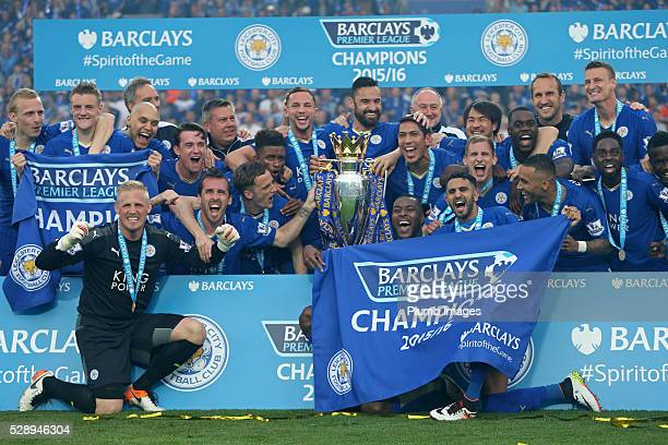 Leicester City with the Premier League trophy after the Barclays Premier League match between Leicester City and Everton at the King Power Stadium on...