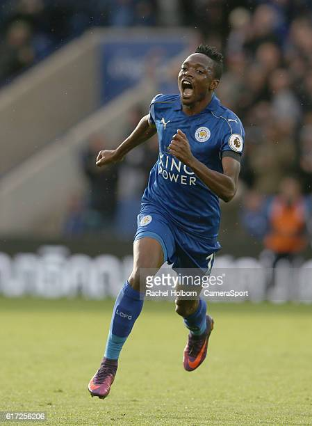 Leicester City's Ahmed Musa celebrates scoring his sides first goal during the Premier League match between Leicester City and Crystal Palace at The...