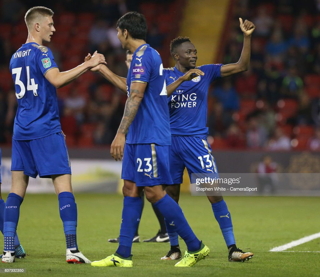 Leicester City's Ahmed Musa celebrates scoring his side's fourth goal giving a thumbs up to the fans during the Carabao Cup Second Round match between Sheffield United and Leicester City at Bramall Lane on August 22, 2017 in Sheffield, England.