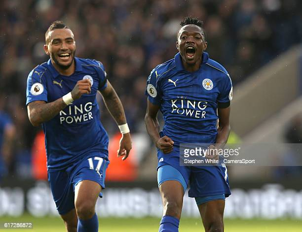 Leicester City's Ahmed Musa celebrates scoring the opening goal with teammate Danny Simpson during the Premier League match between Leicester City...