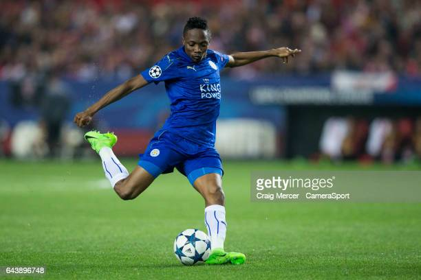 Leicester City's Ahmed Musa has a shot at goal during the UEFA Champions League Round of 16 first leg match between Sevilla FC and Leicester City at...