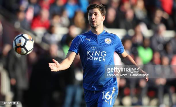 Leicester City's Aleksandar Dragovic during the Emirates FA Cup Third Round match between Fleetwood Town and Leicester City at Highbury Stadium on...