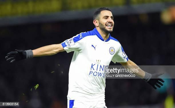 Leicester City's Algerian midfielder Riyad Mahrez celebrates scoring his team's first goal during the English Premier League football match between...