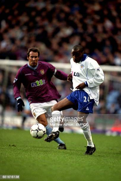 Leicester City's Andy Impey controls the ball ahead of Aston Villa's Paul Merson