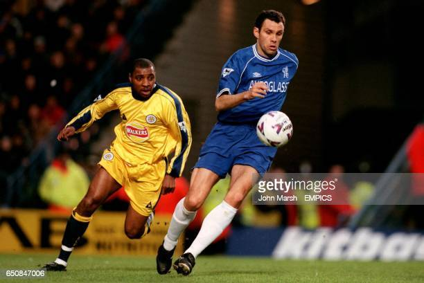 LR Leicester City's Andy Impey tracks Chelsea's Gustavo Poyet