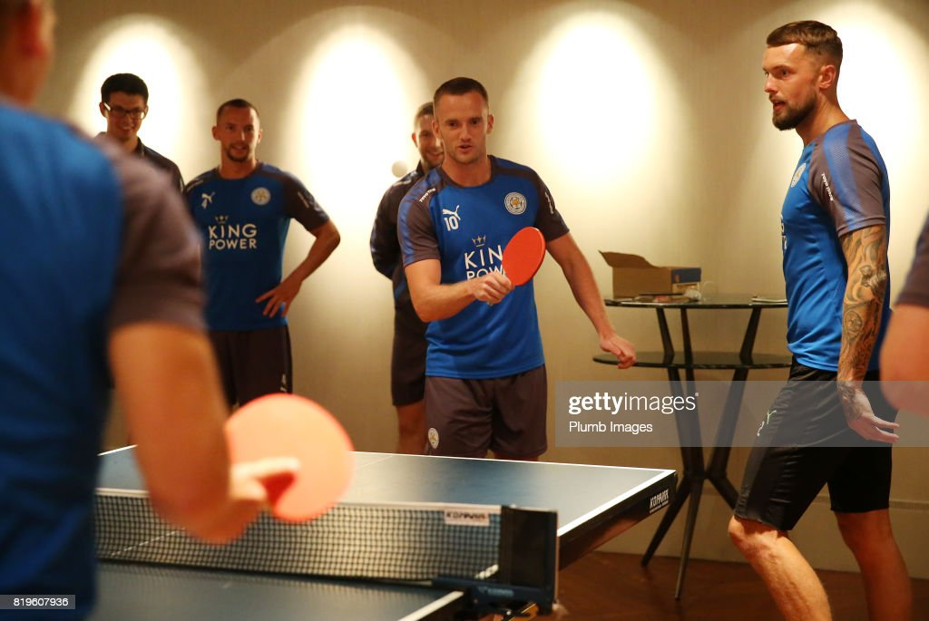 Leicester City's Andy King relaxes after training In Hong Kong by playing table tennis during their pre-season tour of Hong Kong on July 21st , 2017 in Hong Kong, Hong Kong.
