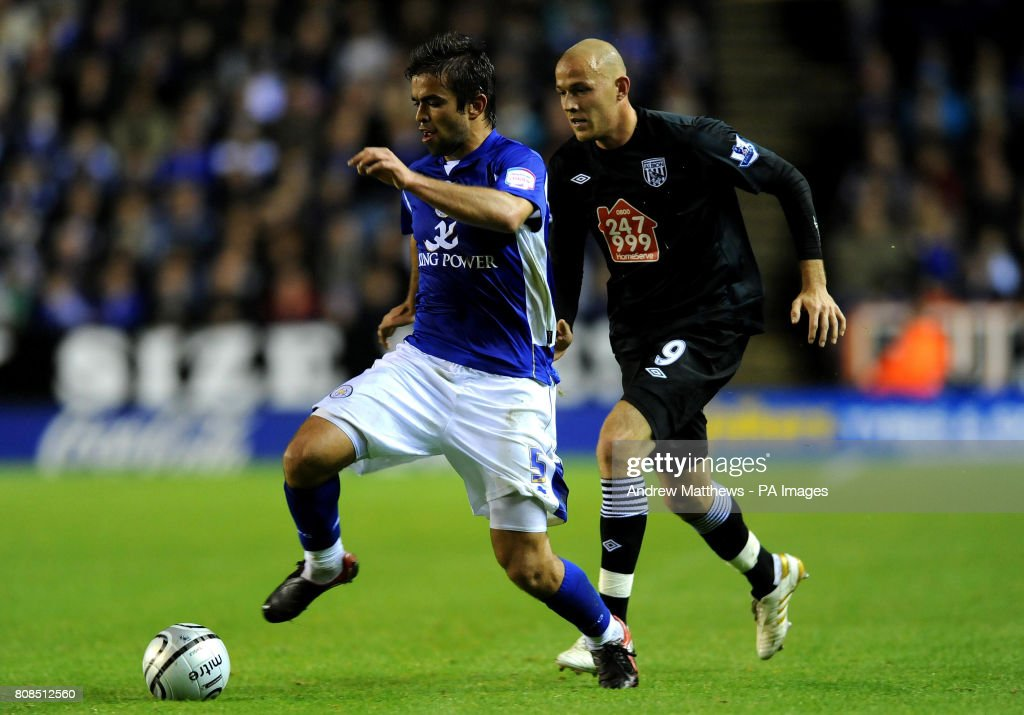 Leicester City's Angelo Miguel Vitor (left) battles for the ball with West Bromwich Albion's Roman Bednar during the Carling Cup Fourth Round match at the Walkers Stadium, Leicester.