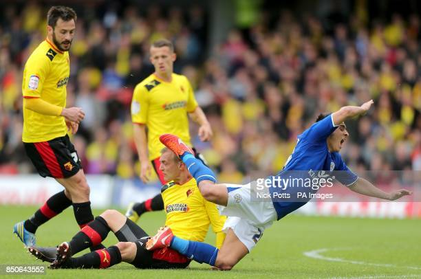 Leicester City's Anthony Knockaert is tackled by Watford's Joel Ekstrand