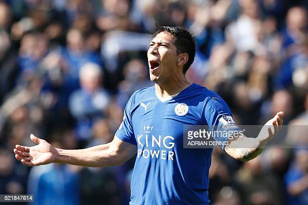 Leicester City's Argentinian striker Leonardo Ulloa celebrates scoring their second goal from the penalty spot to equalise 22 as West Ham United's...