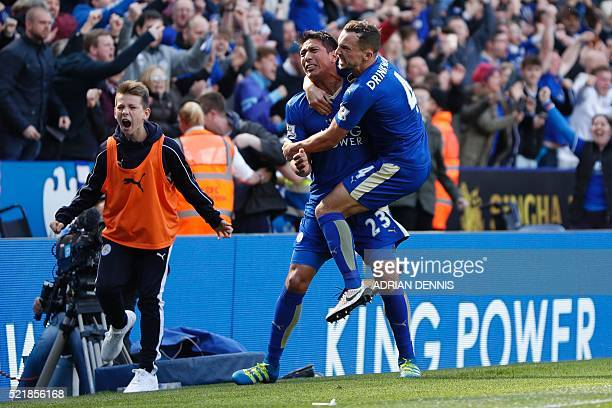 Leicester City's Argentinian striker Leonardo Ulloa celebrates scoring their second goal from the penalty spot to equalise 22 with Leicester City's...