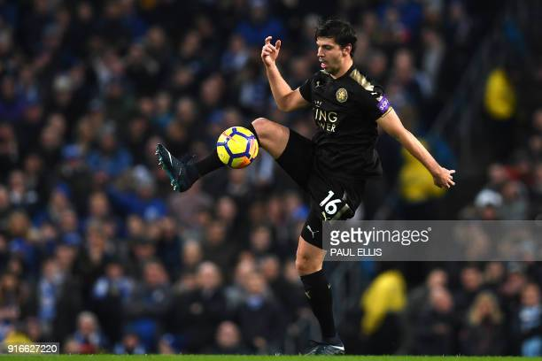 Leicester City's Austrian defender Aleksandar Dragovic controls the ball during the English Premier League football match between Manchester City and...