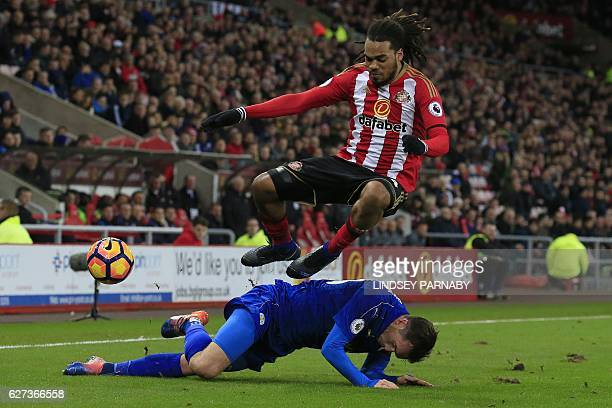 Leicester City's Austrian defender Christian Fuchs vies with Sunderland's Dutch defender Jason Denayer during the English Premier League football...