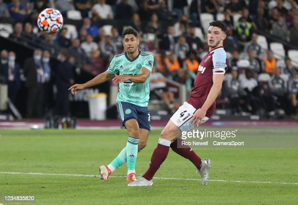 Leicester City's Ayoze Perez with a shot in the first half during the Premier League match between West Ham United and Leicester City at The London...