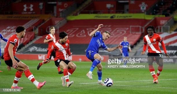 Leicester City's Belgian defender Timothy Castagne fails to control the ball in the Southampton area during the English Premier League football match...
