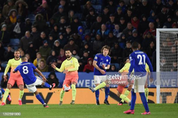 Leicester City's Belgian midfielder Youri Tielemans takes the free kick after Leicester City's Nigerian striker Kelechi Iheanacho is injured by...