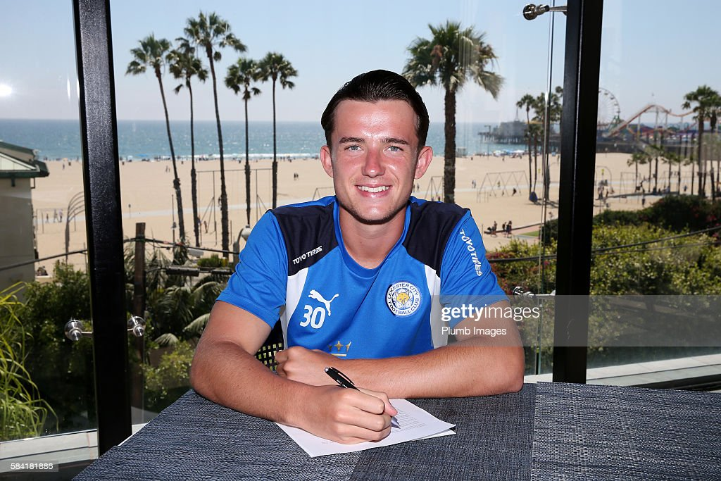 Leicester City's Ben Chilwell signs a new contract until 2021 during the Leicester City Pre-Season US Tour on July 28, 2016 in Los Angeles, California.