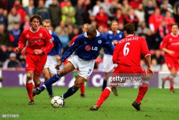 Leicester City's Brian Deane swings the ball past Middlesbrough's Gareth Southgate