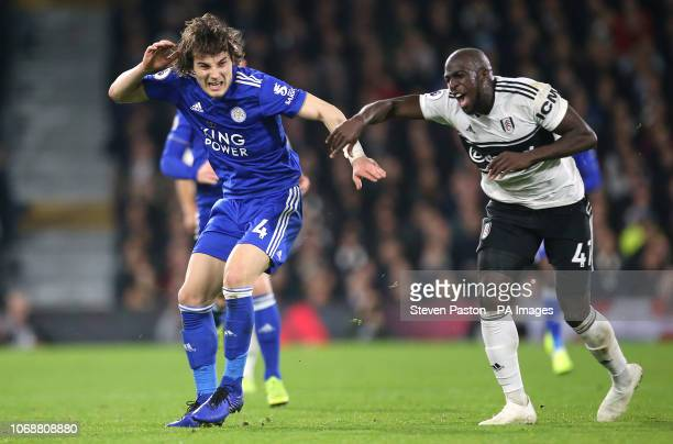 Leicester City's Caglar Soyuncu and Fulham's Aboubakar Kamara battle for the ball during the Premier League match at Craven Cottage London