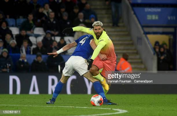 Leicester City's Caglar Soyuncu battles with Manchester City's Sergio Aguero during the Premier League match between Leicester City and Manchester...