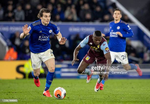 Leicester City's Caglar Soyuncu competing with Aston Villa's Mbwana Samatta during the Premier League match between Leicester City and Aston Villa at...