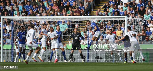 Leicester City's Caglar Soyuncu heads clear during the Premier League match between Leicester City and Manchester City at The King Power Stadium on...