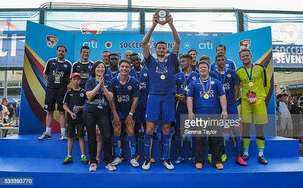 Leicester City's Captain Elliott Moore holds up the Soccer Sevens Shield after beating East in the Shield Final during the Hong Kong Football Club...