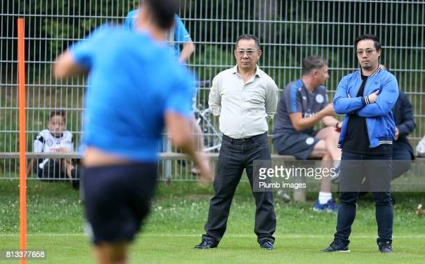 Leicester City's Chairman Vichai Srivaddhanaprabha and Vice chairman Aiyawatt Srivaddhanaprabha watch training during the Leicester City PreSeason...