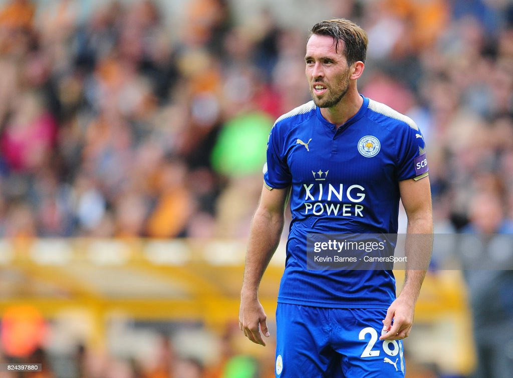 Leicester Citys Christian Fuchs during the pre-season friendly match between Wolverhampton Wanderers and Leicester City at Molineux on July 29, 2017 in Wolverhampton, England.